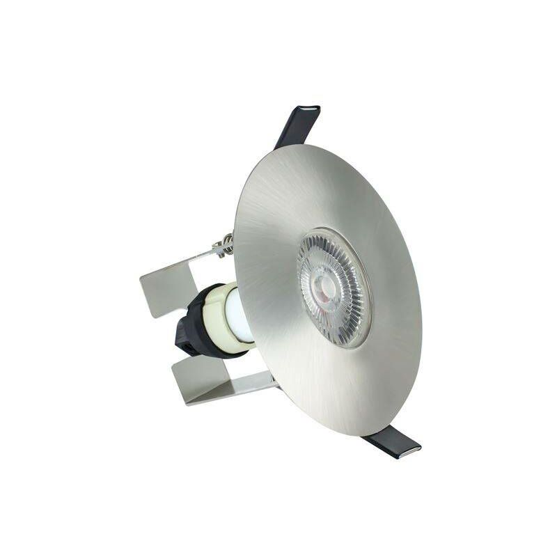 Image of Integral - LED Fire Rated Downlight Round Insulation Guard / GU10 Holder Satin Nickel IP65 - INTEGRAL LIGHTING