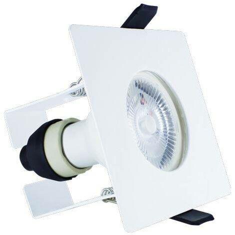 Integral - LED Fire Rated Static Downlight Recessed Spotlight Square GU10 Holder Bracket Matt White IP65