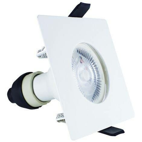 Integral - LED Fire Rated Static Downlight Recessed Spotlight Square GU10 Holder Matt White IP65