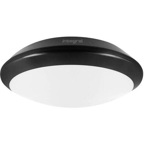 Integral - LED Flush Ceiling Light Bulkhead 24W 4000K 2400lm IK10 3hr Emergency / adjustable Sensor Matt Black IP66