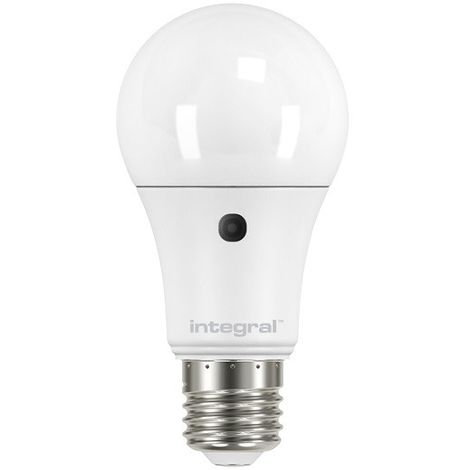 Integral LED GLS Dusk to Dawn Sensor Bulb, E27 6.6W Non-dimmable, Day Light, Frosted