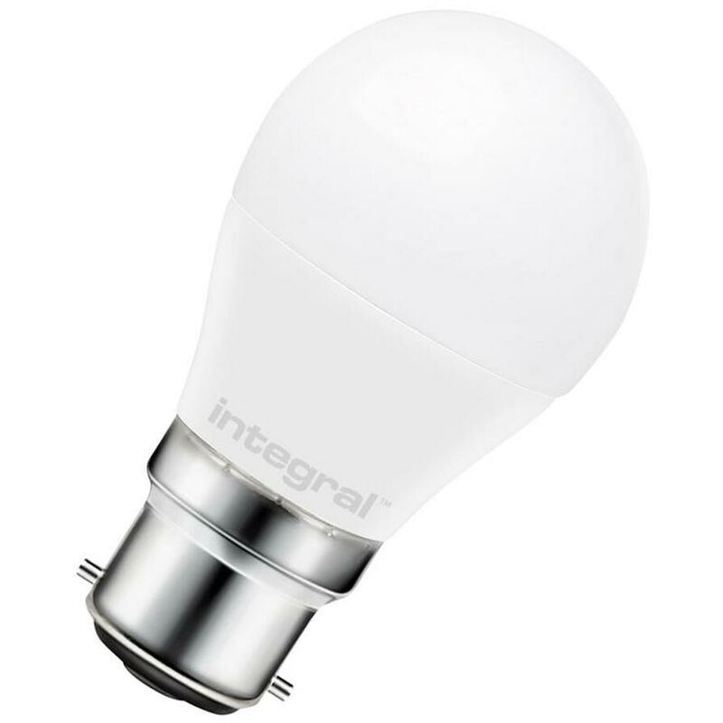 Image of Golfball 7.5W BC-B22d (60W Equivalent) 2700K Warm White Opal 806lm BC Bayonet B22 Round Frosted Thermal Plastic Light Bulb - Integral Led