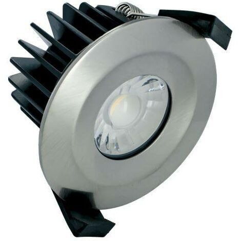 Integral - LED IP65 Fire Rated Downlight Recessed Spotlight 6W 3000K 430lm Dimmable bezel Satin Nickel IP65