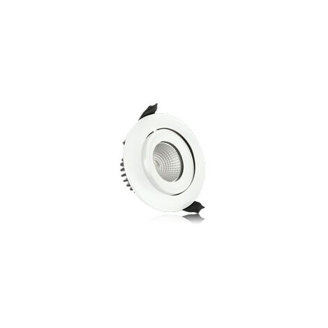 Integral LED Lux Fire rated tiltable downlight 9W 92mm cut out Dimmable cool white - ILDLFR92C006