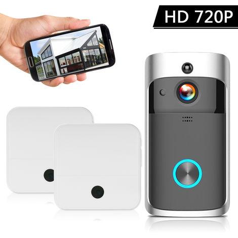 Inteligente HD 720P intercomunicacion video sin hilos Wi-Fi del telefono video de la puerta, con 2 plug-in de Chime, Negro