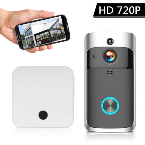 Inteligente HD 720P intercomunicacion video sin hilos, WI-FI video de la puerta, con 1 Plug-in de Chime, Negro
