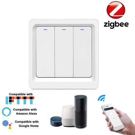 Inteligente Luz Zigbee boton Push Switch Inteligente Vida / Tuya aplicacion de control remoto interruptor de pared de control compatible con Alexa pagina principal de Google, de 3 vias