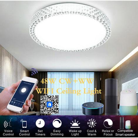 Inteligente WiFi luz de techo de 48W regulable sin escalonamiento luces LED de la nube de Inteligencia aplicacion de control remoto Distribucion funcion de control de voz compatible con Amazon alexa / Google Inicio / IFTTT para pasillo del pasillo de esca