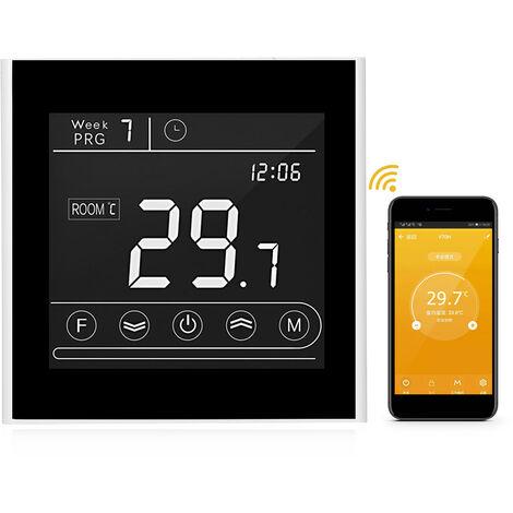 Inteligente Wifi termostato programable de calefaccion del termostato de temperatura LED Controlador de pantalla de la pantalla tactil de luz de fondo a distancia de sustitucion Funcion de Control de Anti-congelacion para Tmall Genie / Amazon Echo, White,