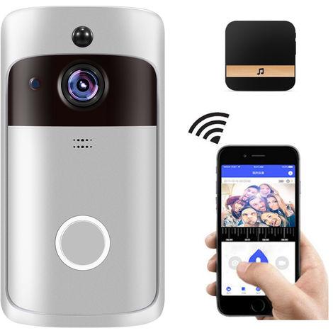 Inteligente WiFi timbre de la puerta, la camara HD 720P de Seguridad, con el Negro Timbre