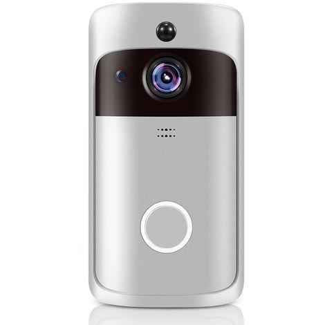 Inteligente WiFi timbre de la puerta, la camara HD 720P de Seguridad, sin Chime, plateado