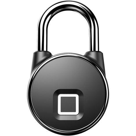 Intelligentes Fingerabdruck-Vorh?ngeschloss, USB-Aufladung, Schwarz
