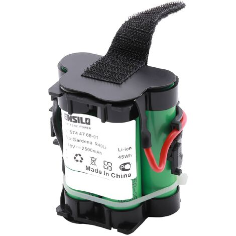INTENSILO batterie compatible avec Gardena R38Li, R50Li, R75Li, R80Li, R80 LI, 124562 replacement pour 574 47 68-01 robot tondeuse 2500mAh, 18V Li-ion
