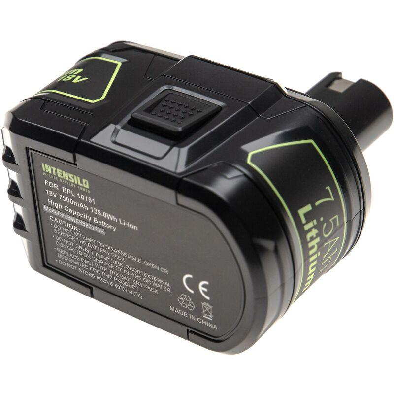 INTENSILO Batterie compatible avec Ryobi LDD1802PB, LDD-1802PB, LFP-1802S, LRS-180, OBL-1801 outil électrique (7500mAh Li-ion 18 V)