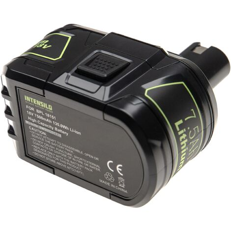 INTENSILO Battery compatible with Ryobi CHP-1802M, CHV-180L, CHV-18WDM, CID-1802M, CID-1803L Electric Power Tools (7500mAh Li-Ion 18V)