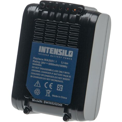 INTENSILO Battery compatible with Worx WG163, WG163E, WG163E.9, WG165, WG166, WG166.1, WG169E Electric Power Tools (5000mAh Li-Ion 20V)