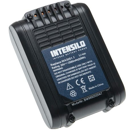 INTENSILO Battery compatible with Worx WX372.9, WX373, WX373.1, WX373.9, WX390, WX390.1 Electric Power Tools (2500mAh Li-Ion 20V)