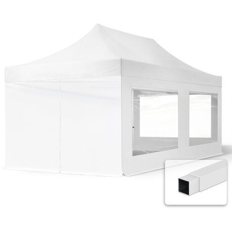 INTENT24 3x6 m Tente pliante - Acier, PES env. 300g/m², côté panoramique, blanc
