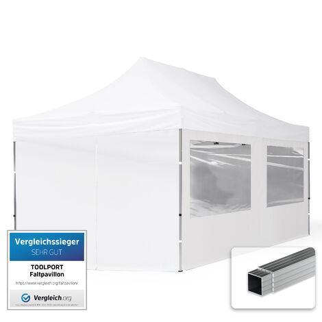 INTENT24 3x6 m Tente pliante - Alu, PES env. 300g/m², côté panoramique, blanc