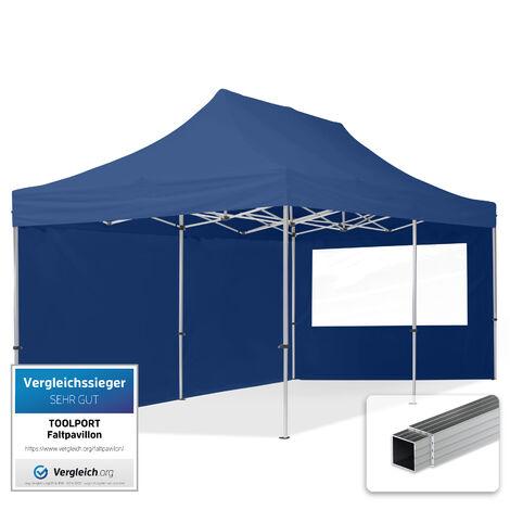 INTENT24 3x6 m Tente pliante - Alu, PES env. 300g/m², côté panoramique, bleu foncé