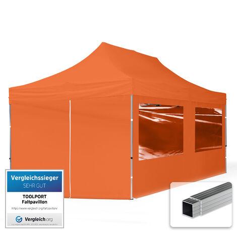 INTENT24 3x6 m Tente pliante - Alu, PES env. 300g/m², côté panoramique, orange