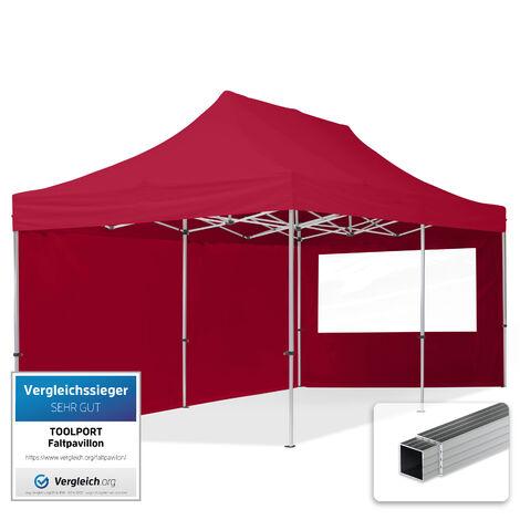 INTENT24 3x6 m Tente pliante - Alu, PES env. 300g/m², côté panoramique, rouge