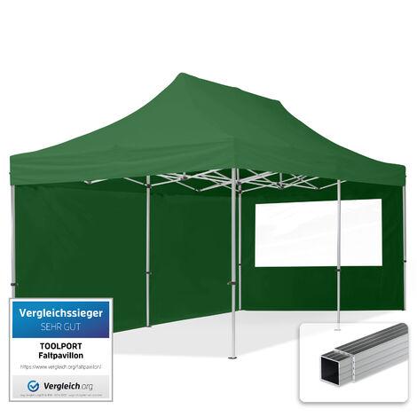 INTENT24 3x6 m Tente pliante - Alu, PES env. 300g/m², côté panoramique, vert foncé