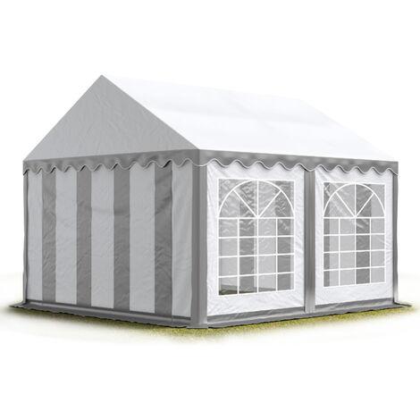 INTENT24 4x4 m Tente de réception/Barnum gris-blanc toile de haute qualité env. 500g/m² PVC ECONOMY