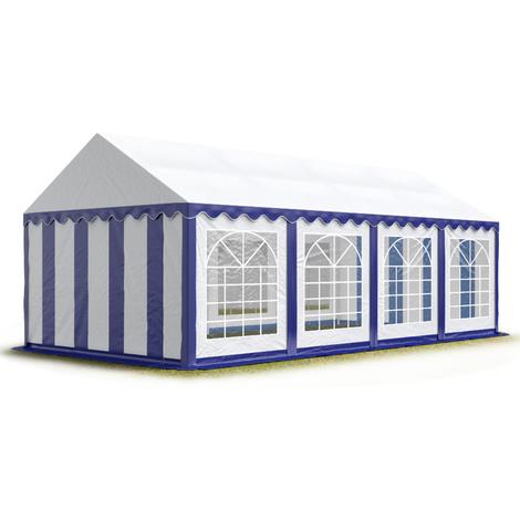 INTENT24 4x8 m Tente de réception/Barnum bleu-blanc toile de haute qualité env. 500g/m² PVC ECONOMY