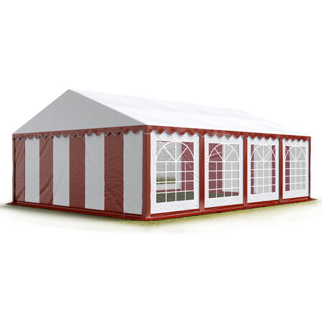 INTENT24 4x8 m Tente de réception/Barnum rouge-blanc toile de haute qualité env. 500g/m² PVC ECONOMY