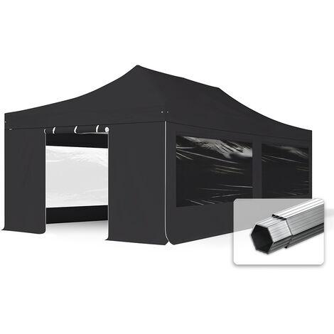 INTENT24 4x8 m Tente pliante - Alu, PES env. 400g/m², côté panoramique, noir