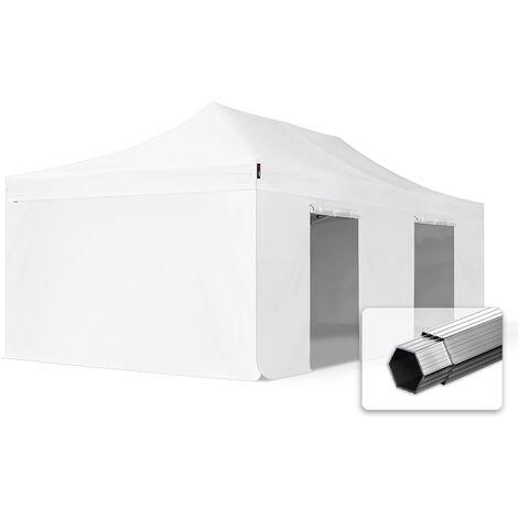 INTENT24 4x8 m Tente pliante - Alu, PES env. 400g/m², côtés sans fenêtre, blanc