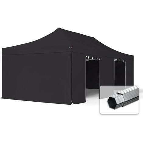 INTENT24 4x8 m Tente pliante - Alu, PES env. 400g/m², côtés sans fenêtre, noir