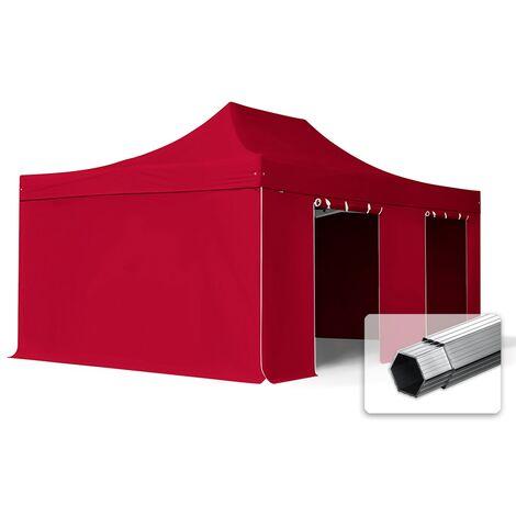 INTENT24 4x8 m Tente pliante - Alu, PES env. 400g/m², côtés sans fenêtre, rouge