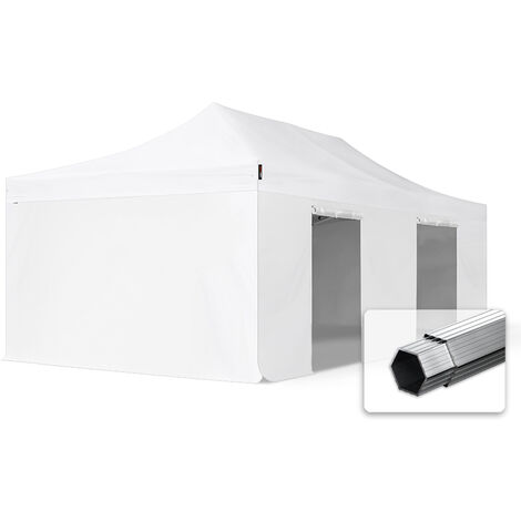 INTENT24 4x8 m Tente pliante - Alu, PVC env. 620g/m², anti-feu, côtés sans fenêtre, blanc