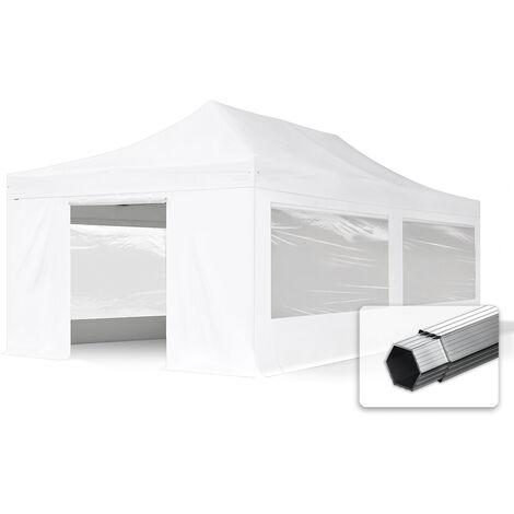 INTENT24 4x8 m Tente pliante PROFESSIONAL avec côtés (dont 4 panoramiques), Alu, blanc