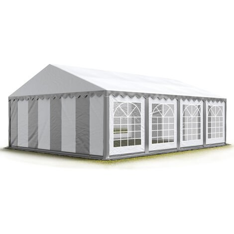 INTENT24 4x8m tente de réception, PVC env. 500g/m², H. 2m, gris-blanc