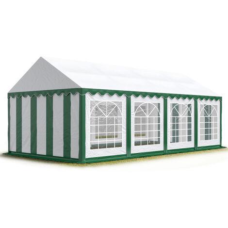 INTENT24 4x8m tente de réception, PVC env. 500g/m², H. 2m, vert-blanc