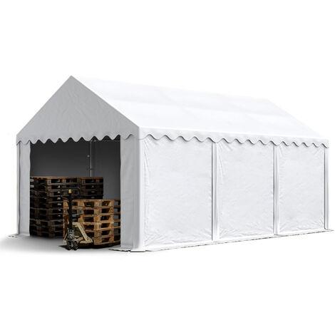 INTENT24 Abri / Tente de stockage ECONOMY - 4 x 6 m en blanc - toile PVC env. 500g/m² imperméable / protection contre les rayons UV (80+) / structure robuste en acier galvanisé