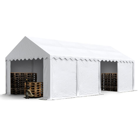 INTENT24 Abri / Tente de stockage ECONOMY - 4 x 8 m en blanc - toile PVC env. 500g/m² imperméable / protection contre les rayons UV (80+) / structure robuste en acier galvanisé