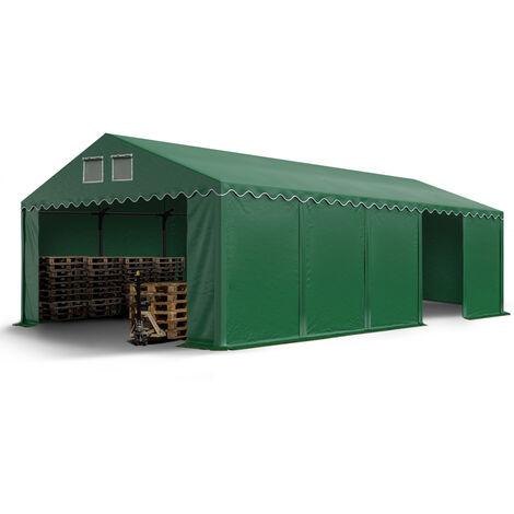 INTENT24 Hangar tente de stockage 5 x 10 m d'élevage de 2,60m de hauteur vert fonce épaisses d'env. 500g/m² PVC imperméables