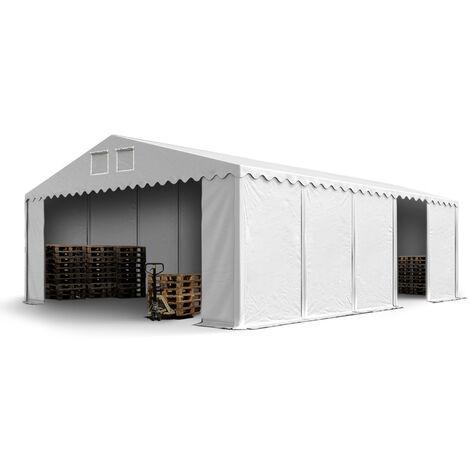 INTENT24 Hangar tente de stockage 7 x 10 m ignifuge d'élevage de 2,60m de hauteur blanc épaisses d'env. 500g/m² PVC imperméables