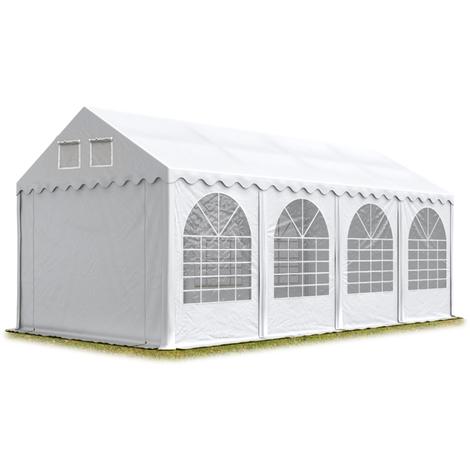INTENT24 Tente de réception 4x8 m - anti-feu H. 2,6m blanc PVC env. 550g/m² pavillon 100% imperméable