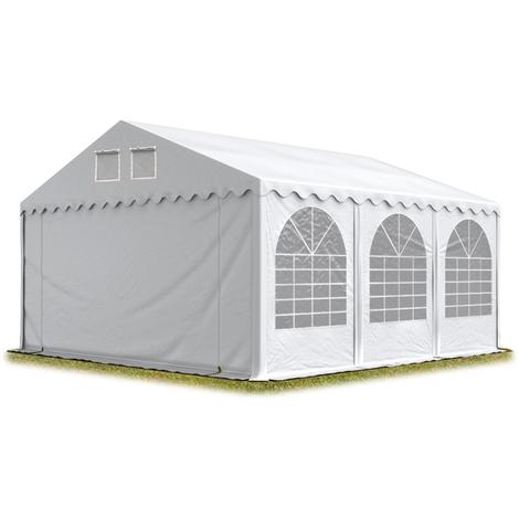 INTENT24 Tente de réception 6x6 m - anti-feu H. 2,6m blanc PVC env. 550g/m² pavillon 100% imperméable