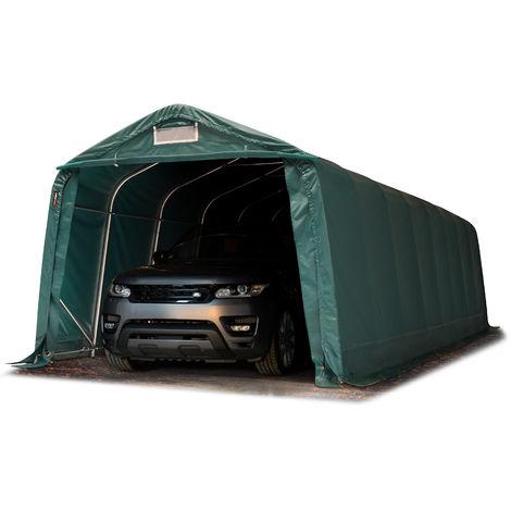 INTENT24 Tente-garage carport 3,3 x 9,6 m d'élevage abri agricole tente de stockage bâche env. 550g/m² armature solide vert foncé , sol dur, béton