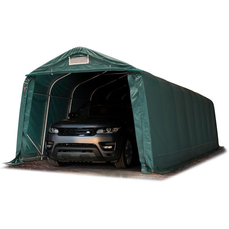 Intent24.fr - INTENT24 Tente-garage carport 3,3 x 9,6m d'élevage abri agricole tente de stockage bâche env. 550g/m² armature solide vert foncé , sol