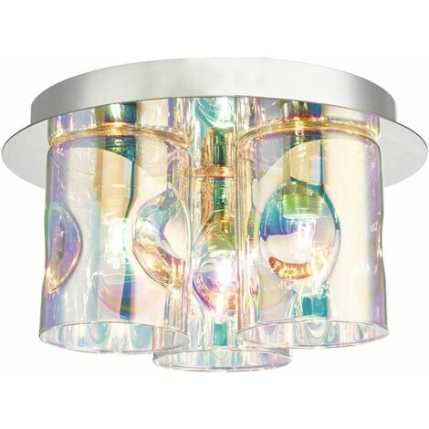 Inter ceiling light polished chrome and glass 3 lights