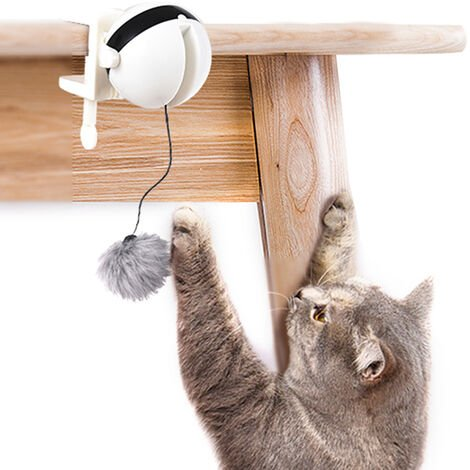 """main image of """"Interactive Cat Toy Electric Ball for Cats Interactive Kitten Swing Toys for Cat Tree Chair Desk,model:White"""""""