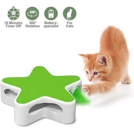 Interactive Cat Toy, Electronic Pentagram Box Cat Toy with Rotating Feather Teaser, Automatic Kitten Toys for Hunting Training (Green)