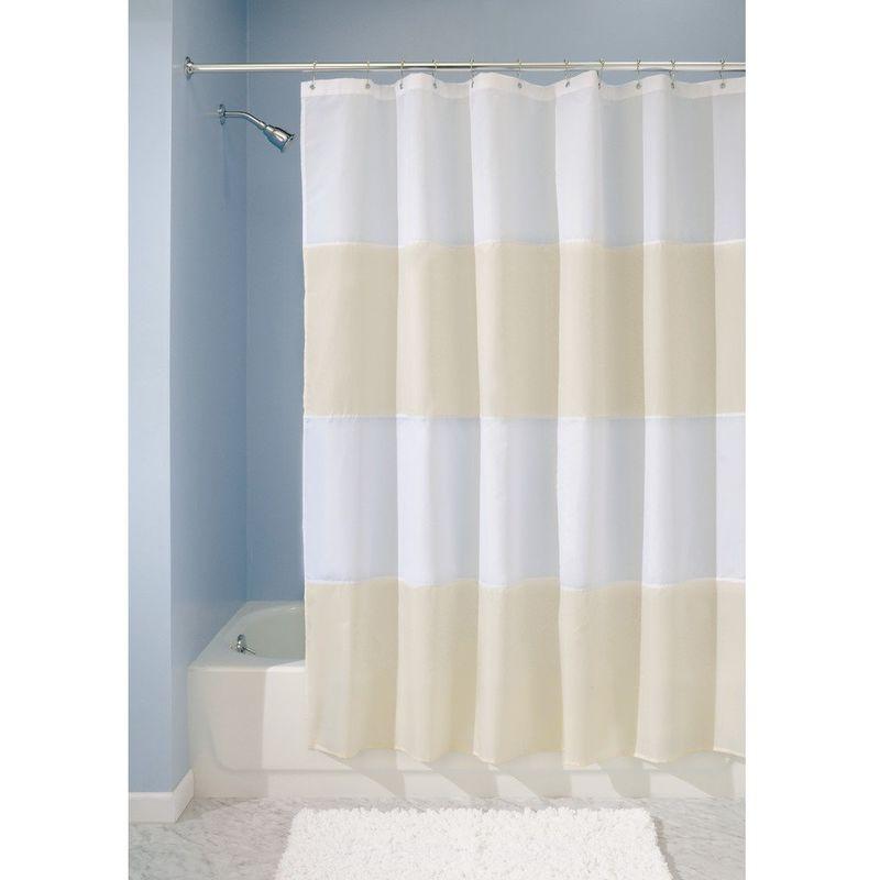InterDesign Zeno Tenda doccia in tessuto, Tende per doccia in poliestere  lavabile con righe orizzontali 183,0 cm x 183,0 cm, sabbia/bianco